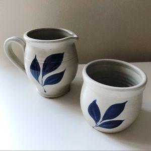 Vtg Williamsburg Pottery Salt Glazed Colonial Blue